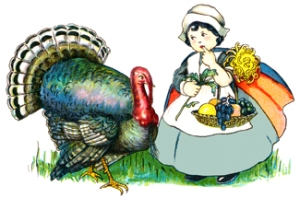 Thanksgiving turkey and pilgrim girl